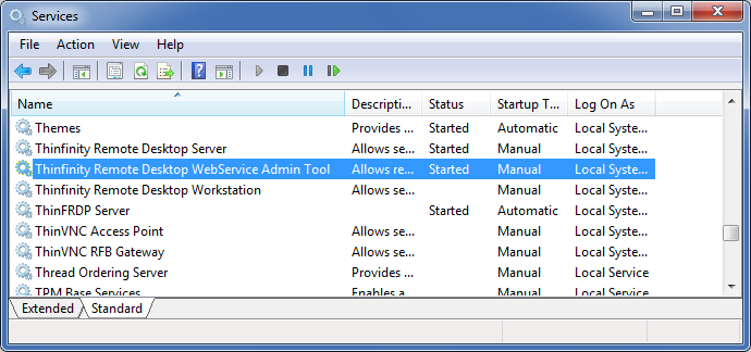 Thinfinity Remote Desktop WebService in the Windows Services Panel