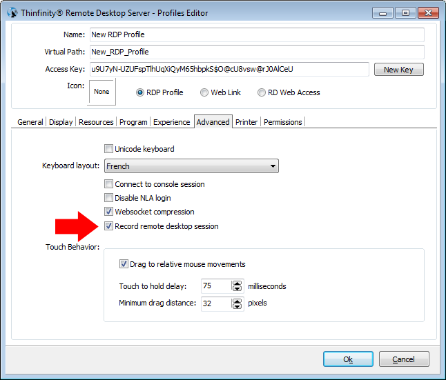 Thinfinity Remote Desktop - Checking Recording in Profiles Editor