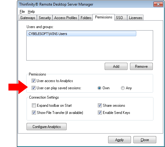 Thinfinity Remote Desktop - Applying permission for play sessions