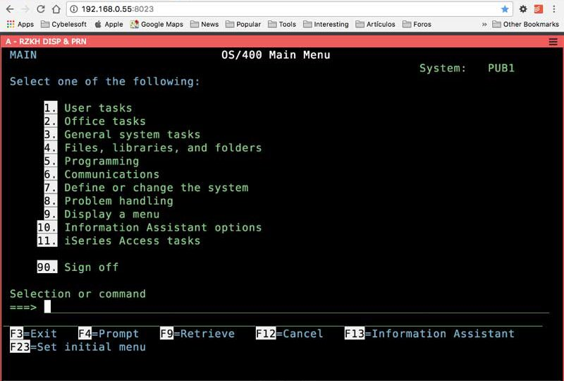 HTML5 Web Based Browser Terminal Emulator for TN3270 and TN5250
