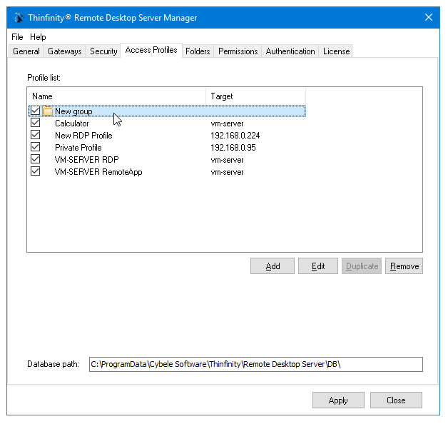 Access Profiles with folders in Thinfinity Remote Desktop Server