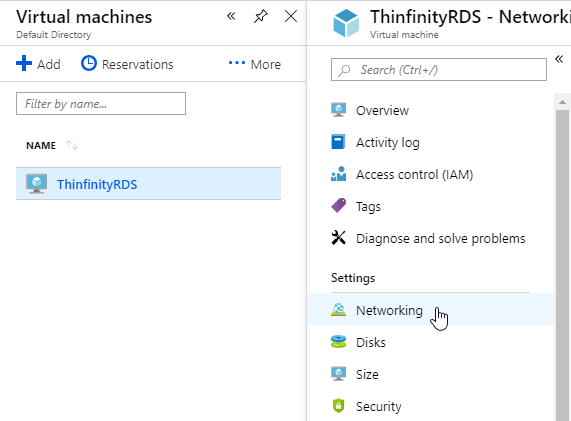 How to access Azure VMs through browser with Thinfinity