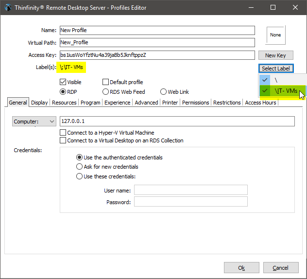 Customize the RDP access profiles with labels
