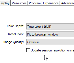 Adjust the RDP resolution to the browser's resolution
