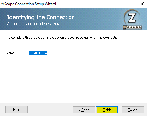 Create a new connection to a mainframe with z/Scope Anywhere