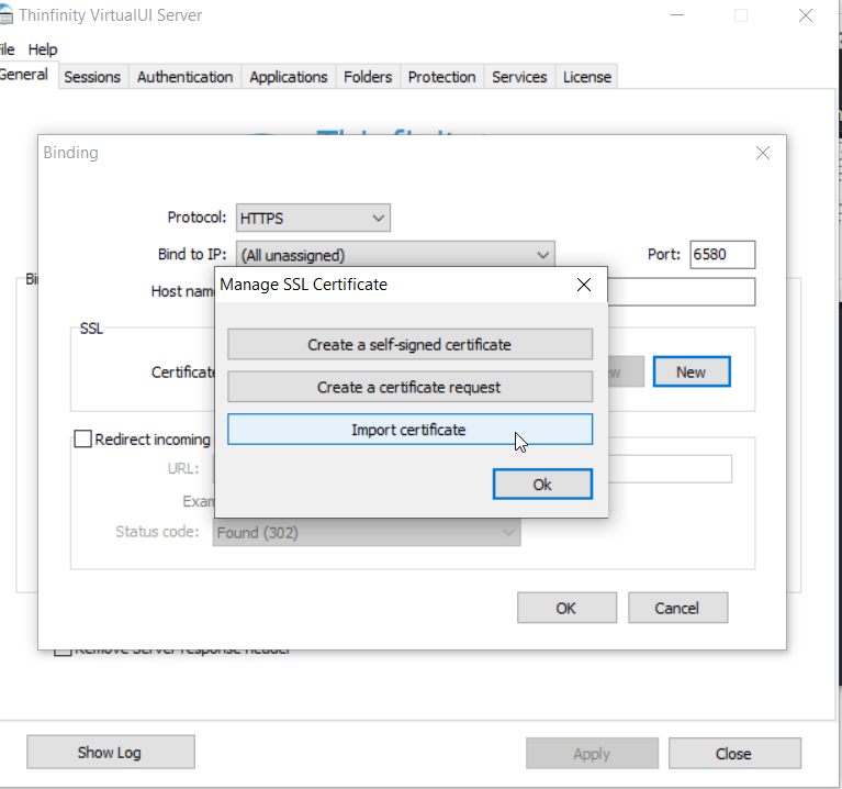 How to create and add a certificate request in Thinfinity Virtual UI