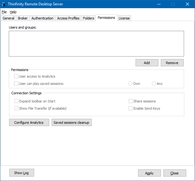 In order to do that, open Thinfinity® Remote Desktop Server v5.0 and click on the 'Permissions' tab: