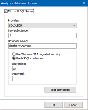 Check the tick-box adjacent to 'Microsoft SQL Server' to enable the configuration fields: