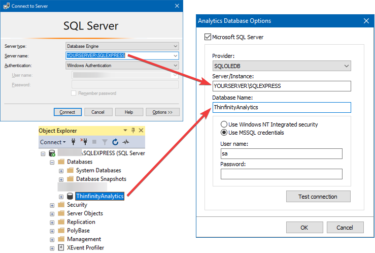Into the fields 'Server/Instance' and 'Database Name', type the values corresponding to your SSMS configuration ('ThinfinityAnalytics' comes by default):