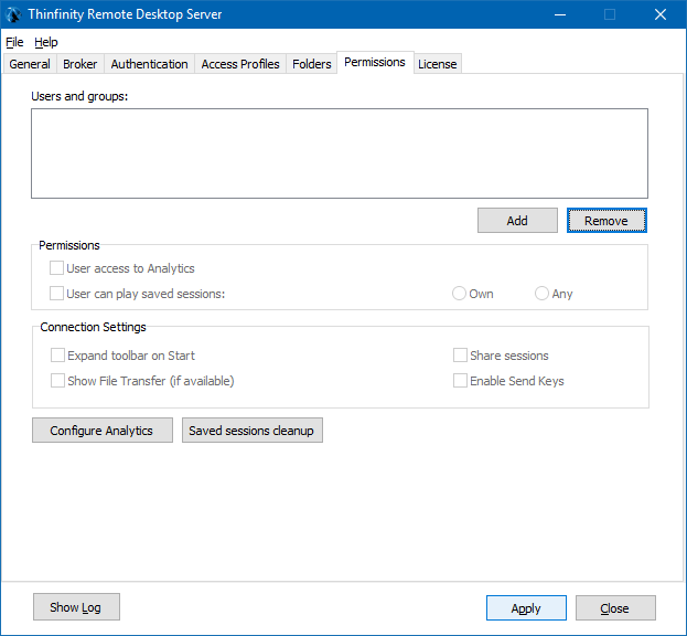 The last step is clicking on 'Apply' on the 'Permissions' tab to save the configuration:
