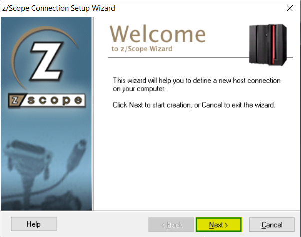 How to create a new connection in zScope Classic - 02