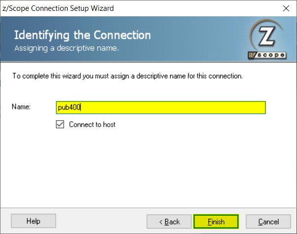 How to create a new connection in zScope Classic - 06