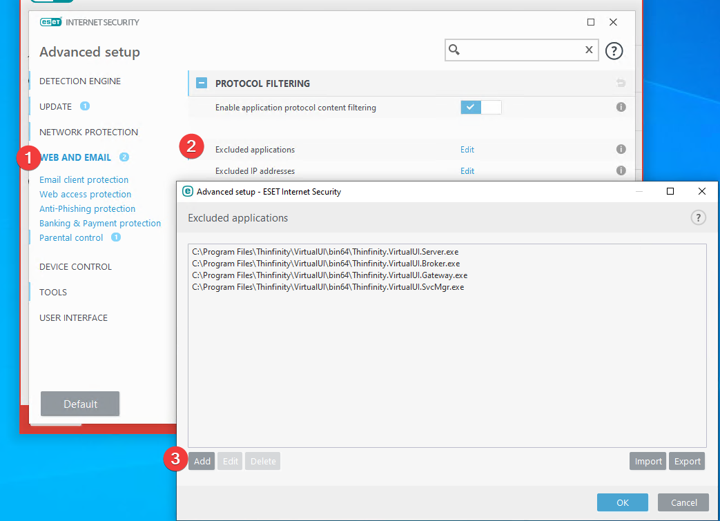 How to configure NOD32 ESET Antivirus to work with Thinfinity VirtualUI - 01