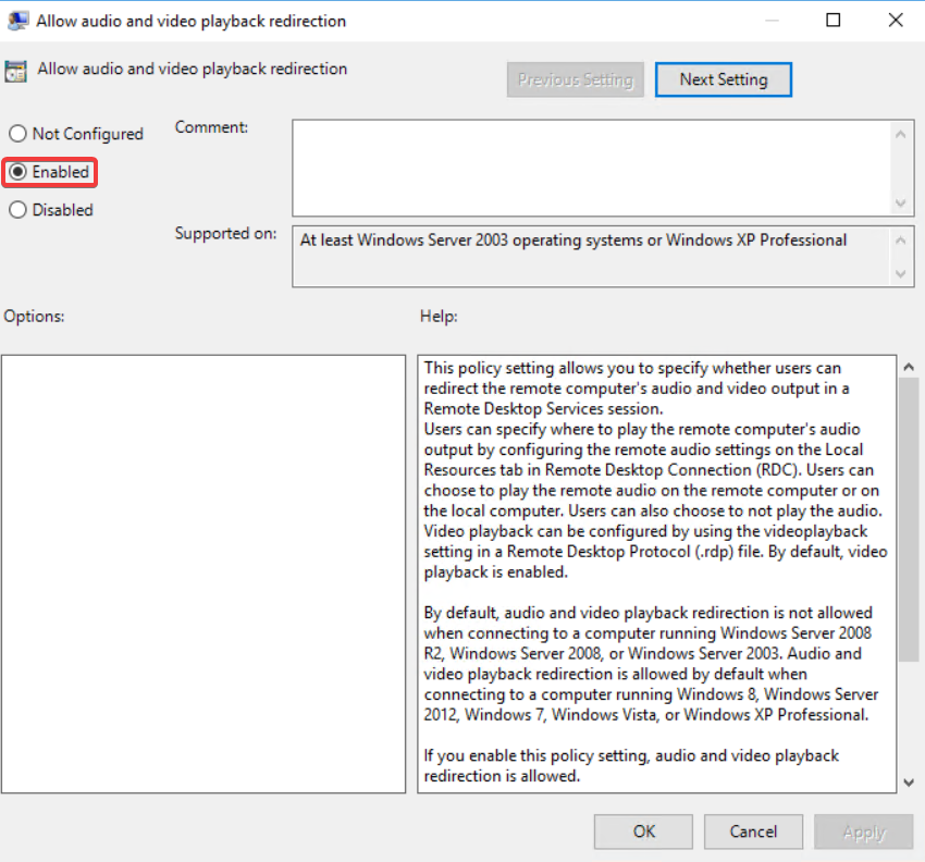 How to allow audio, clipboard and drive redirection via policy - 02