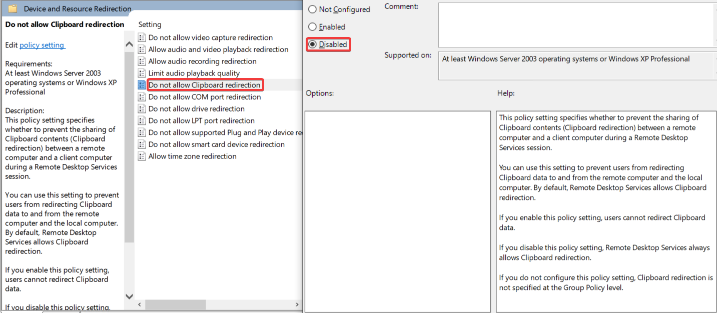 How to allow audio, clipboard and drive redirection via policy - 04