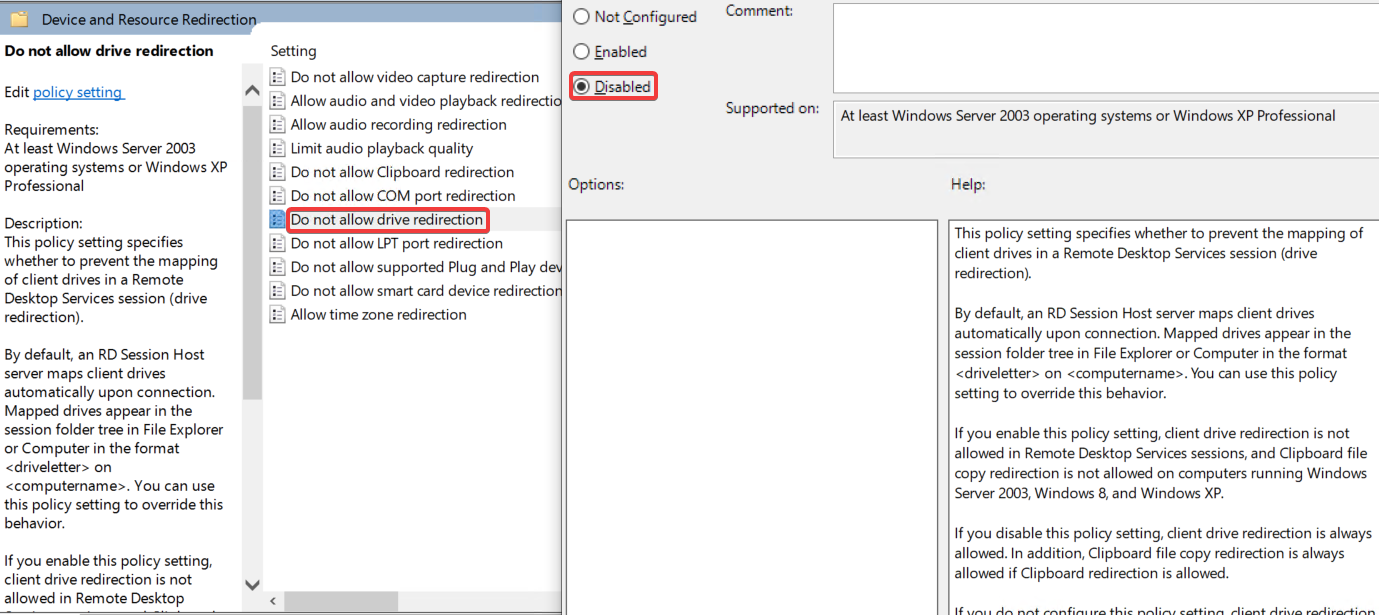 How to allow audio, clipboard and drive redirection via policy - 05